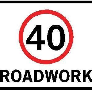 40km/h roadwork sign