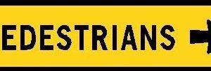 pedestrian sign right arrow