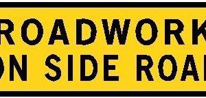 roadwork on side road sign