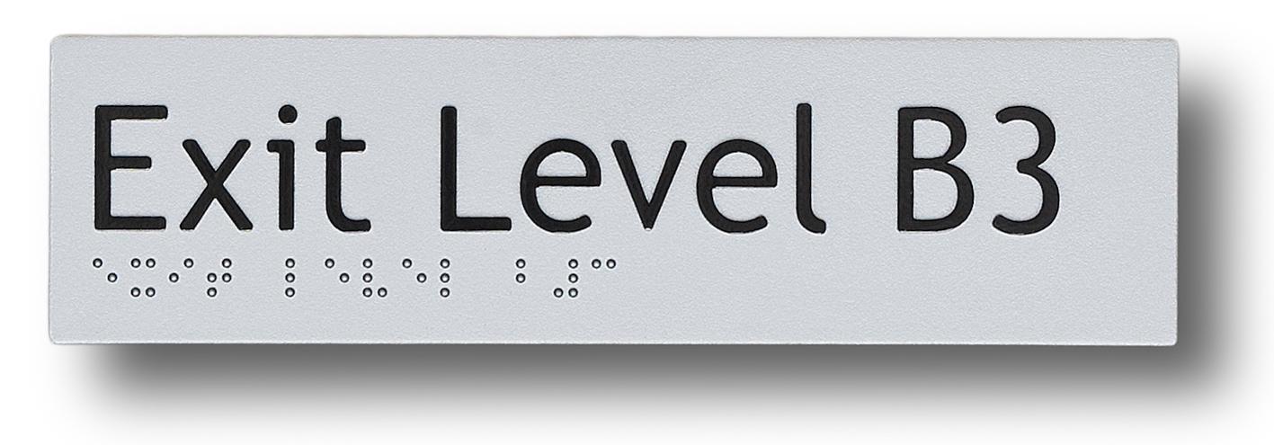 braille sign exit level basement 3 (B3)