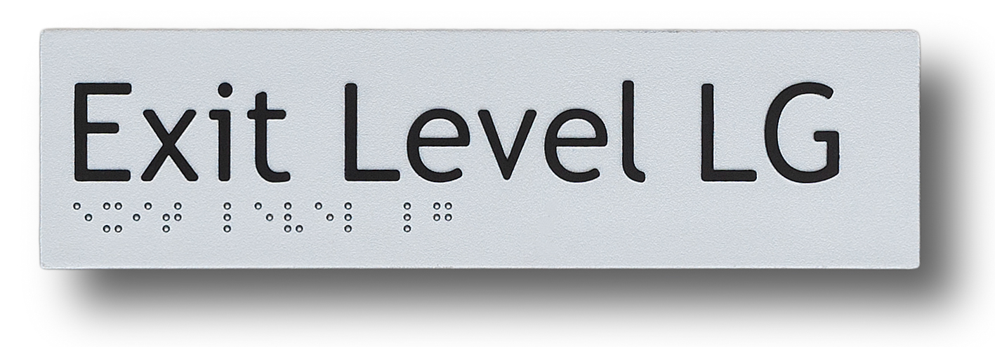 braille sign exit level lg (lower ground)
