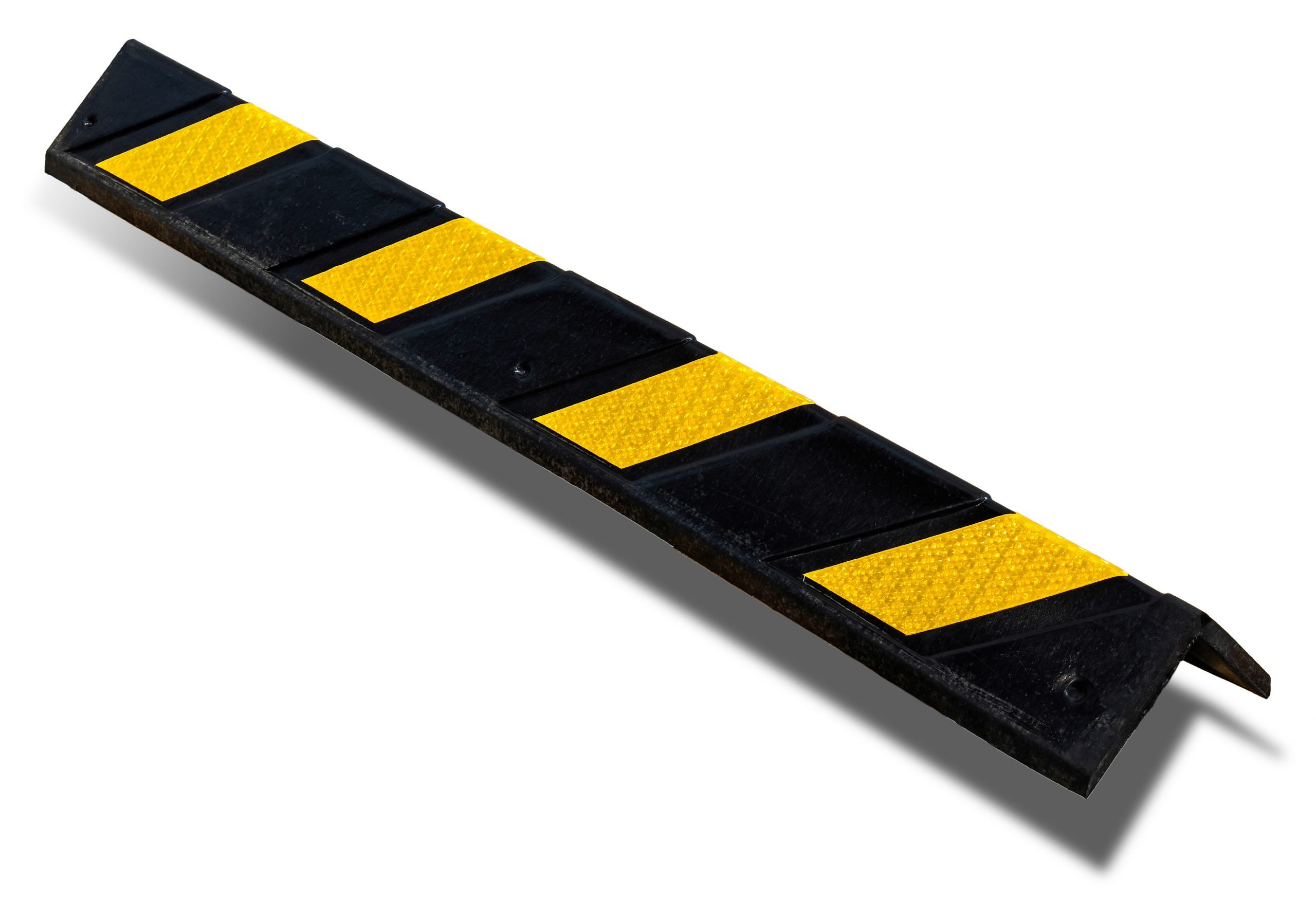 black rubber corner guard with yellow reflective tape
