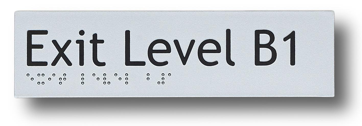 braille sign exit level basement 1 (B1)