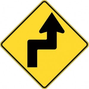 Right Lane Must Turn Left sign