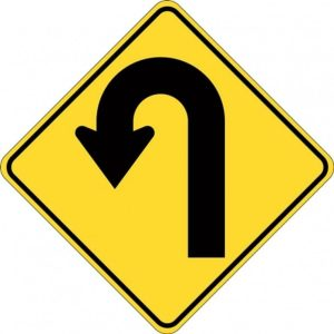 left hairpin bend sign