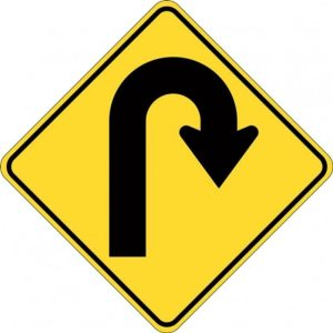 Right Hairpin bend sign