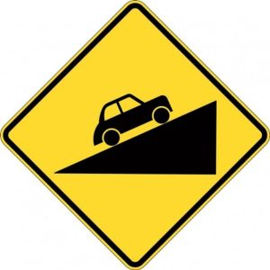 steep climb sign
