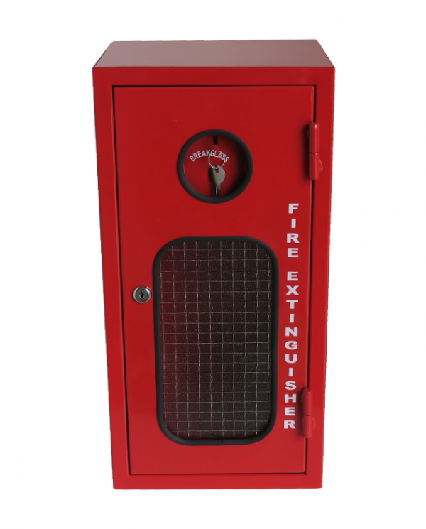 fire extinguisher powder coated red with glass