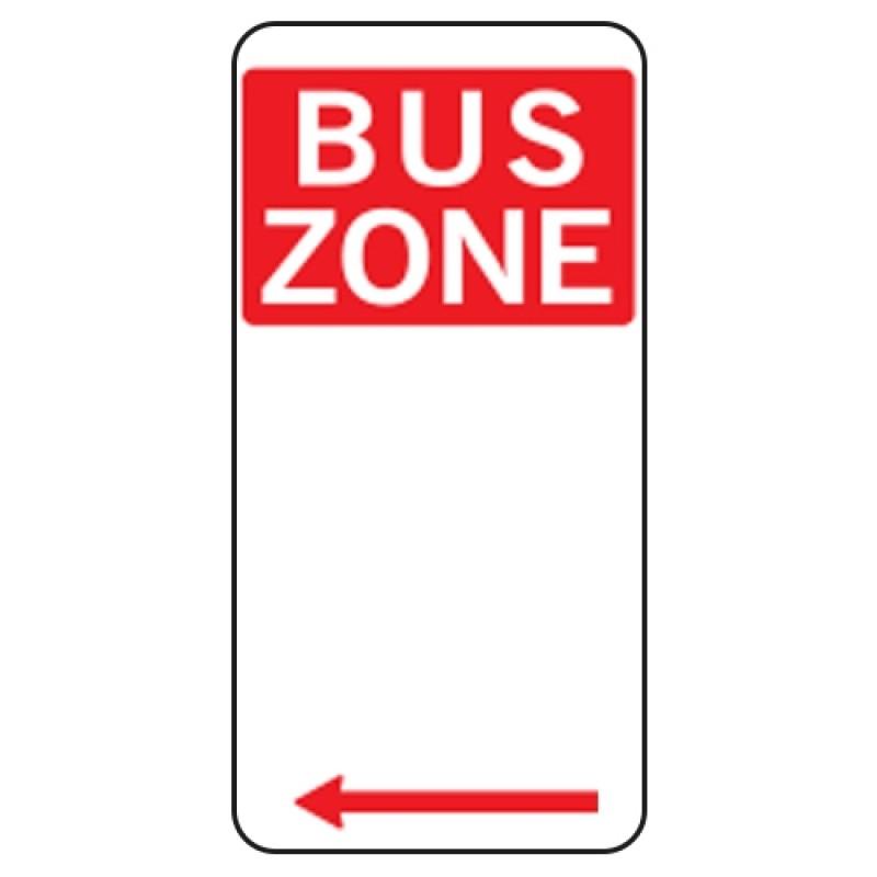 Bus zone left arrow sign