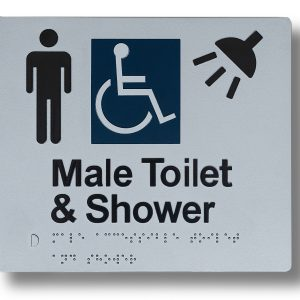 Braille sign - Male toilet & shower