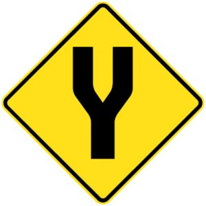 Start Divided road sign