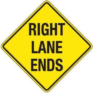 Right Lane Ends sign
