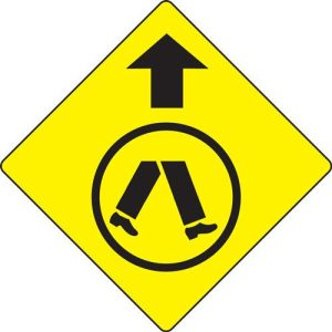 Pedestrians crossing ahead sign