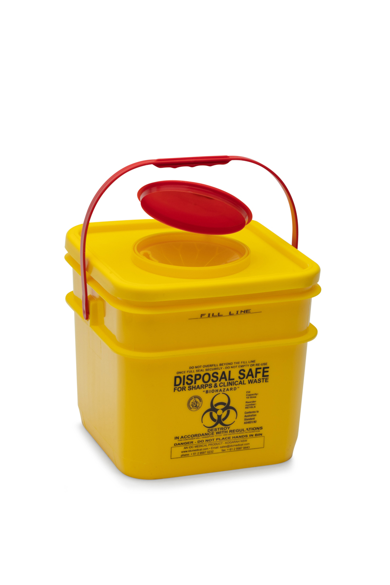 yellow waste disposable bin with red lid