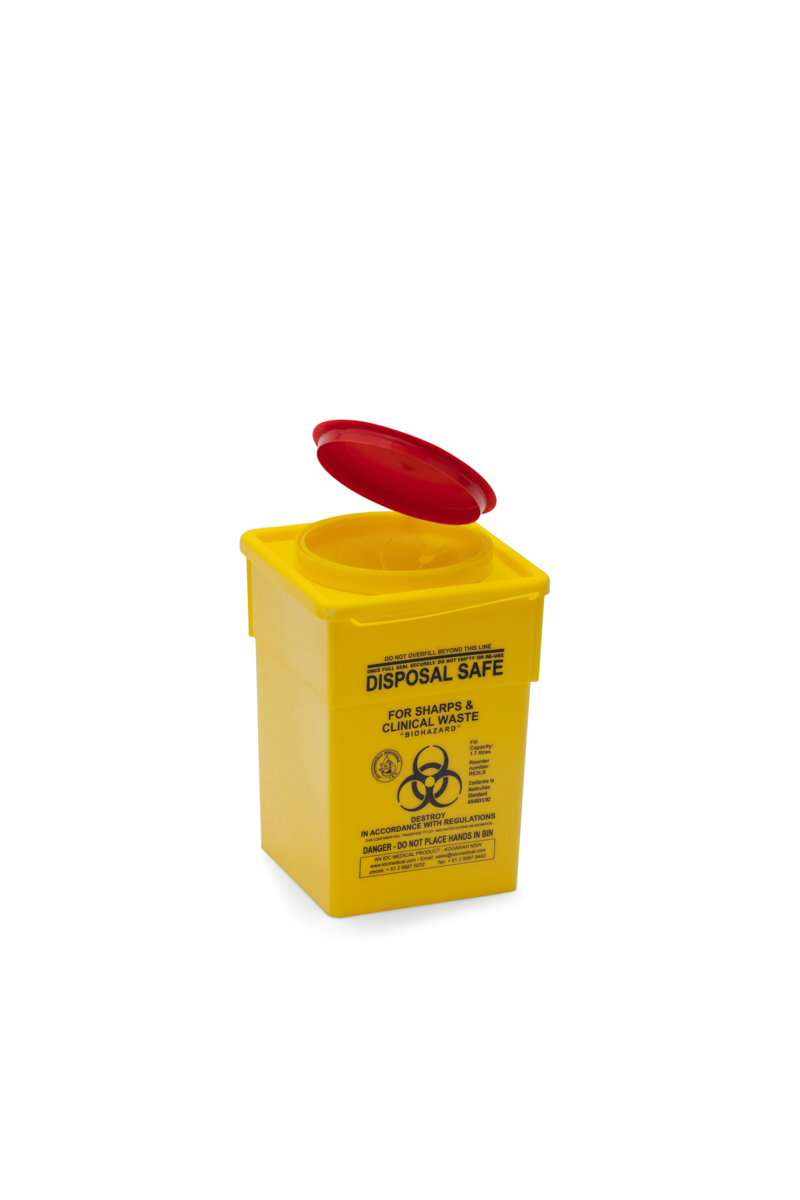 square yellow clinical waste bin with red lid