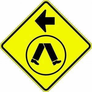 Pedestrians crossing left sign