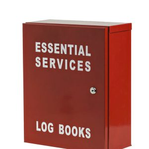 red Essential services log book metal cabinet