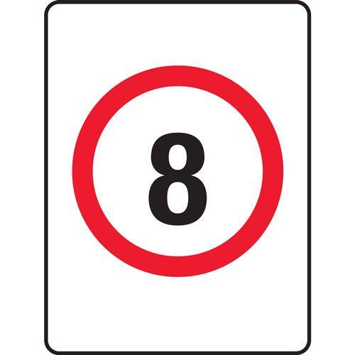 8km speed limit sign 450m x 600mmm x 650mm aluminium