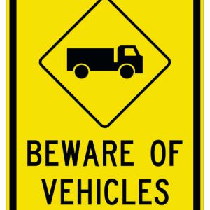 beware of vehicles sign