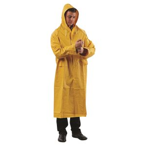 man in yellow rain coat