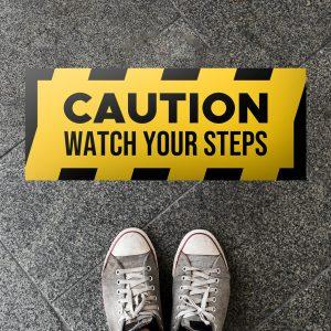 watch your step floor sticker
