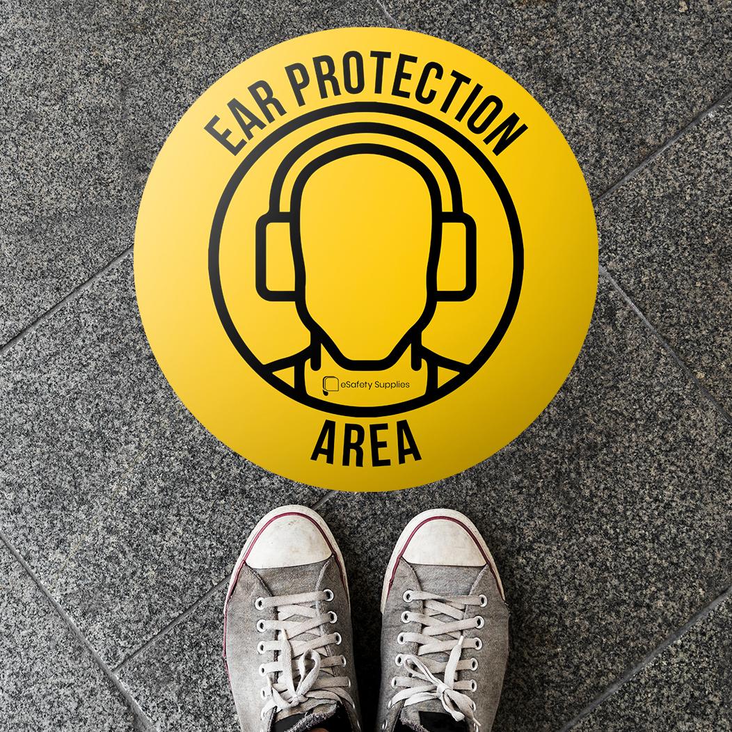 Ear Protection Area Floor Sticker